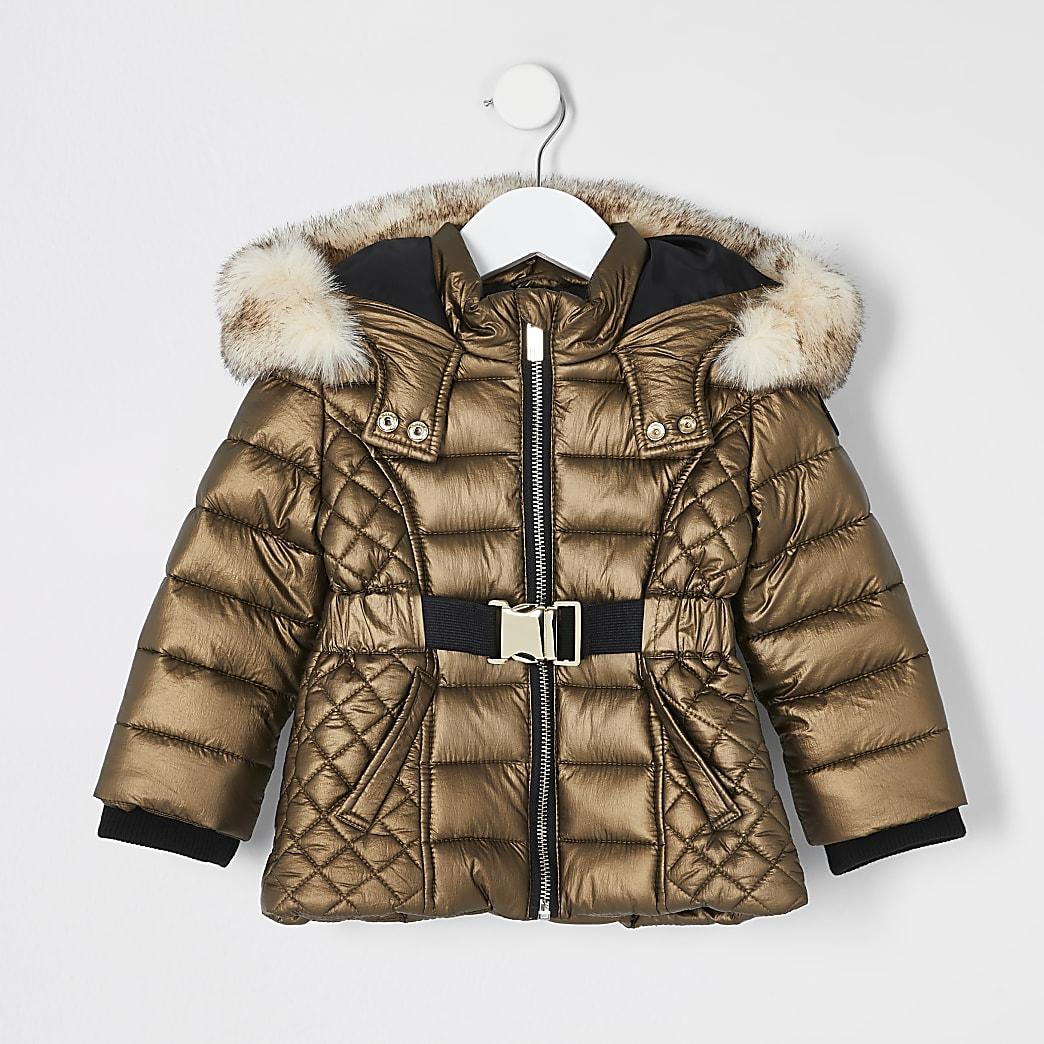 Mini - Bronskleurige gewatteerde jas met capuchon van imitatiebont voor meisjes