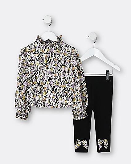 Mini girls brown animal print blouse outfit