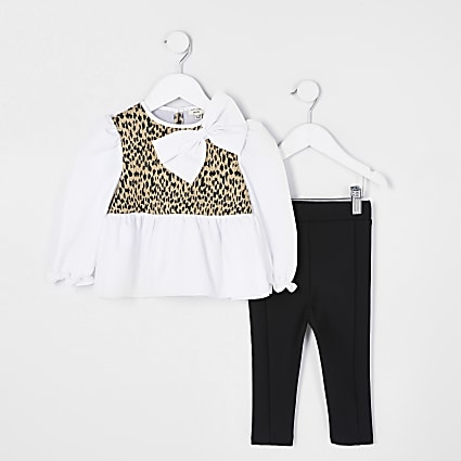 Mini girls brown animal print peplum outfit