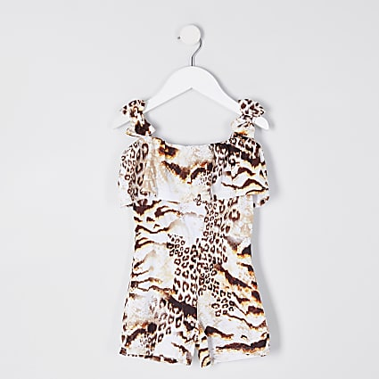 Mini girls brown animal print playsuit