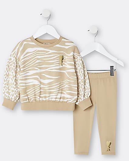 Mini girls brown animal print sweatshirt set