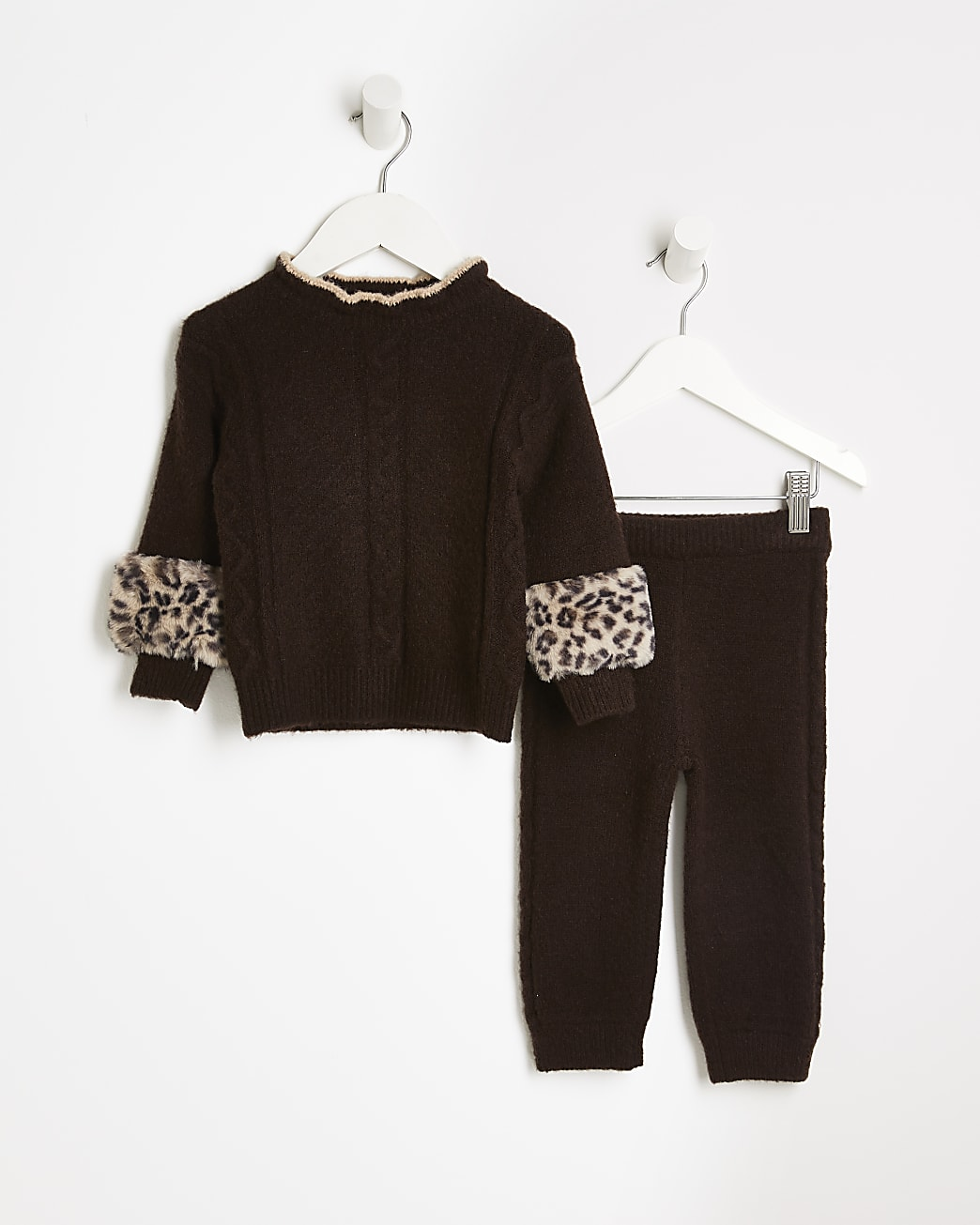 Mini girls brown cable knit jumper outfit