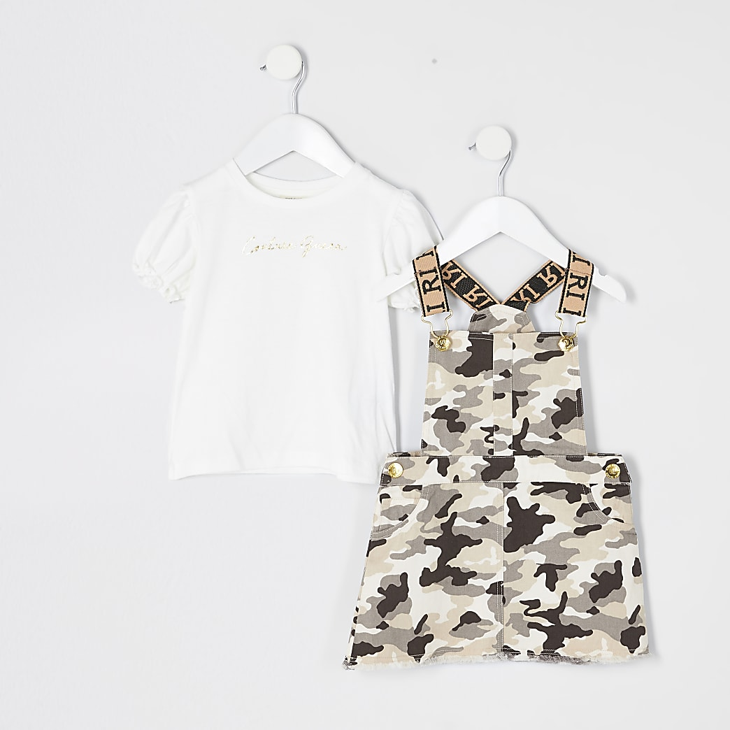 Mini girls brown cami pinafore dress outfit
