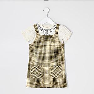 Mini - Bruine outfit met geruite overgooier voor meisjes