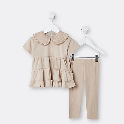 Mini girls brown collar smock top outfit