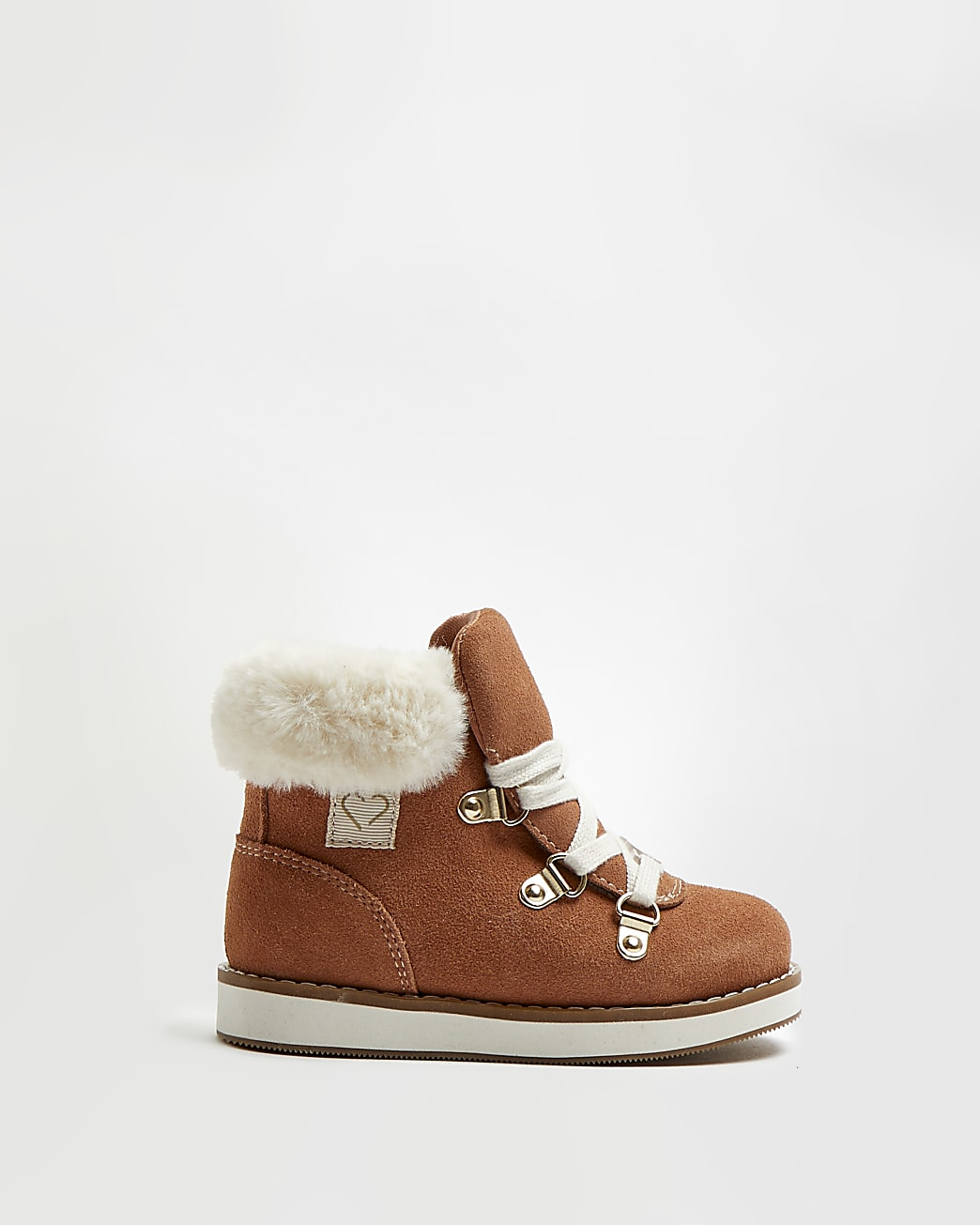 Mini girls brown faux fur lace up boots
