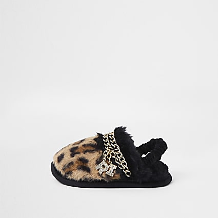 Mini girls brown faux fur leopard slippers