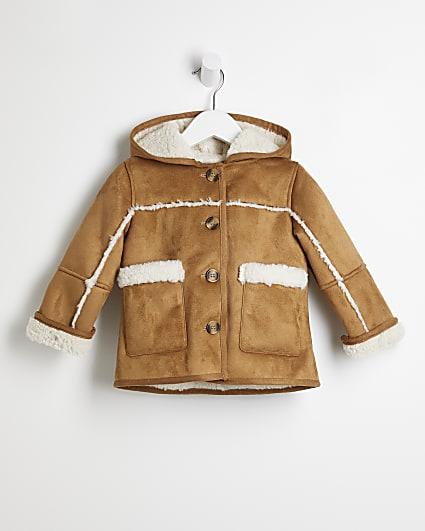 Mini girls brown faux fur shearling coat