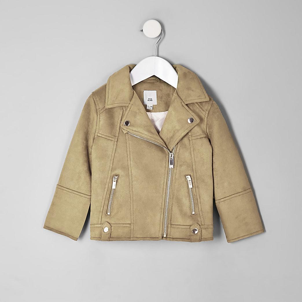 Mini girls brown faux suede biker jacket