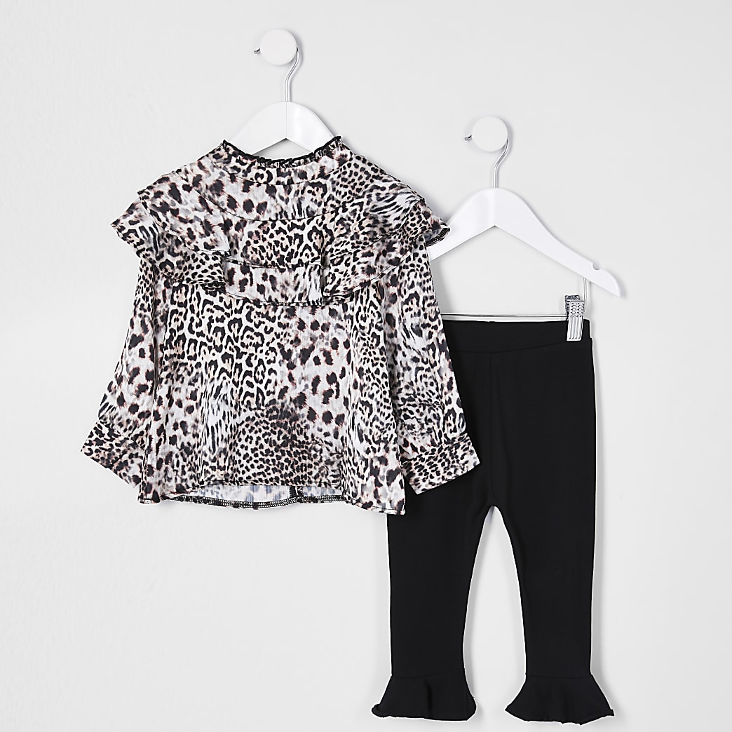Mini girls brown frill blouse outfit
