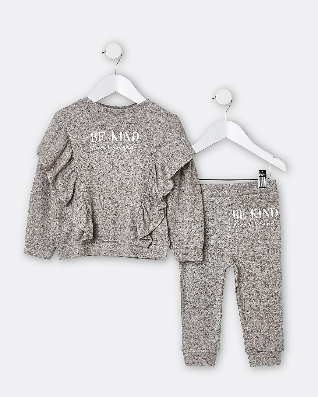 Mini girls brown frill cosy jogger outfit