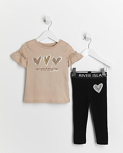 Mini girls brown frill heart t-shirt outfit