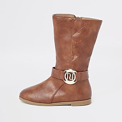 Mini girls brown knee high boots