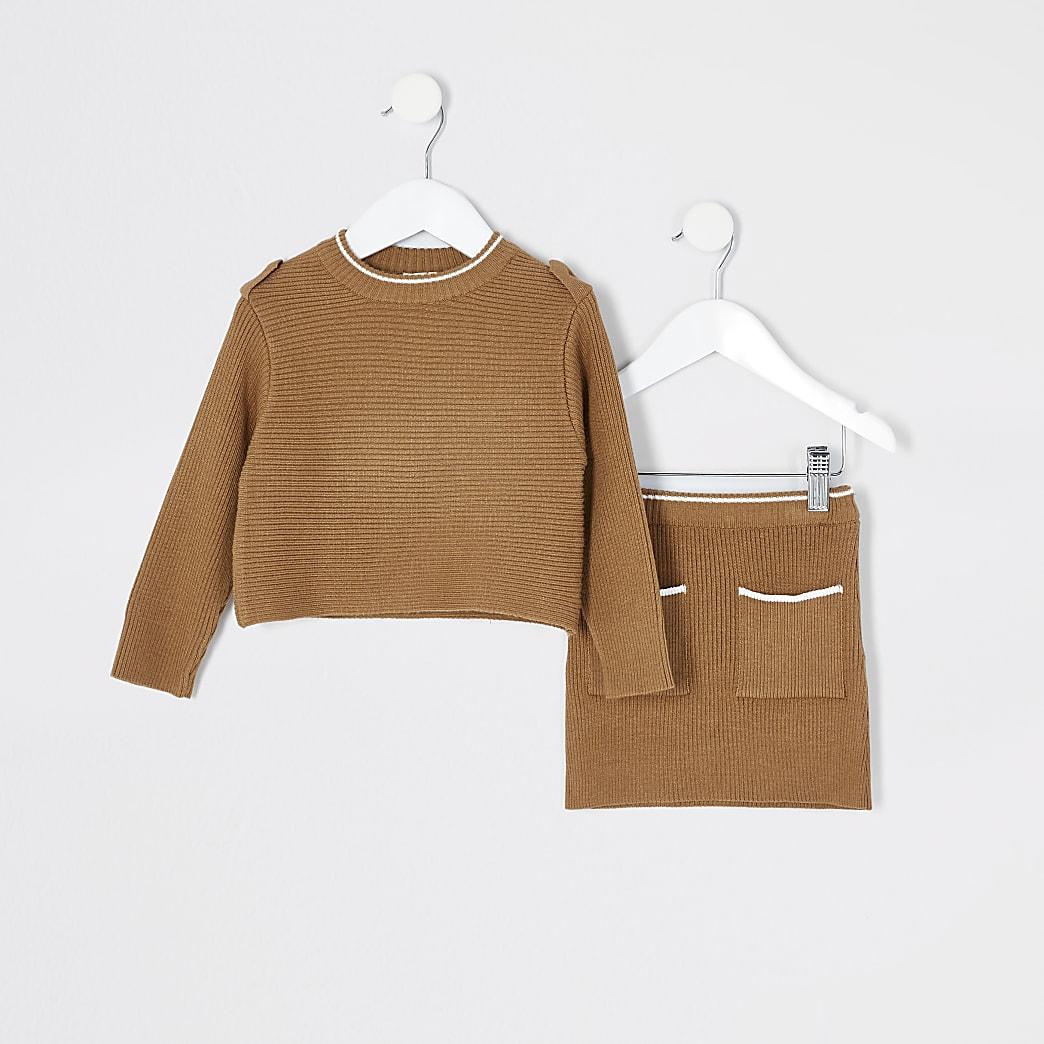 Mini - Bruine gebreide outfit met rok voor meisjes