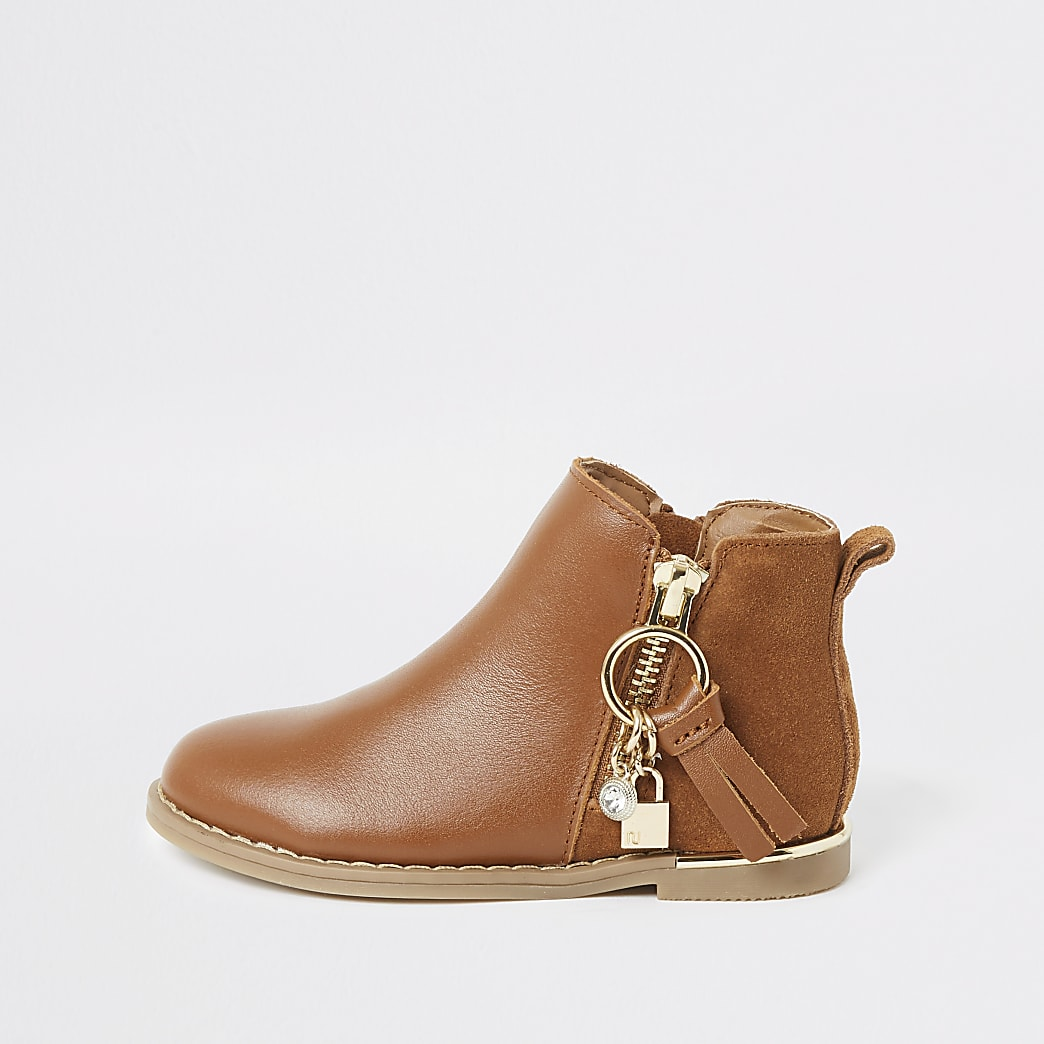 Mini girls brown leather charm zip boots