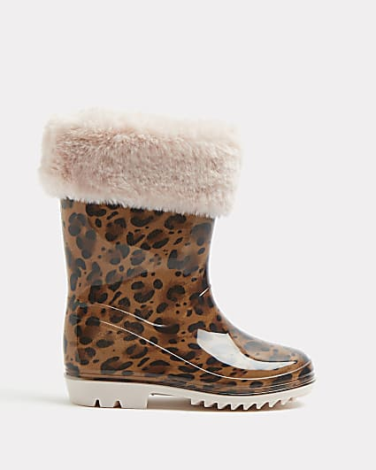 Mini girls brown leopard faux fur welly boots