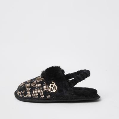 Mini girls brown leopard heat seal slippers | River Island