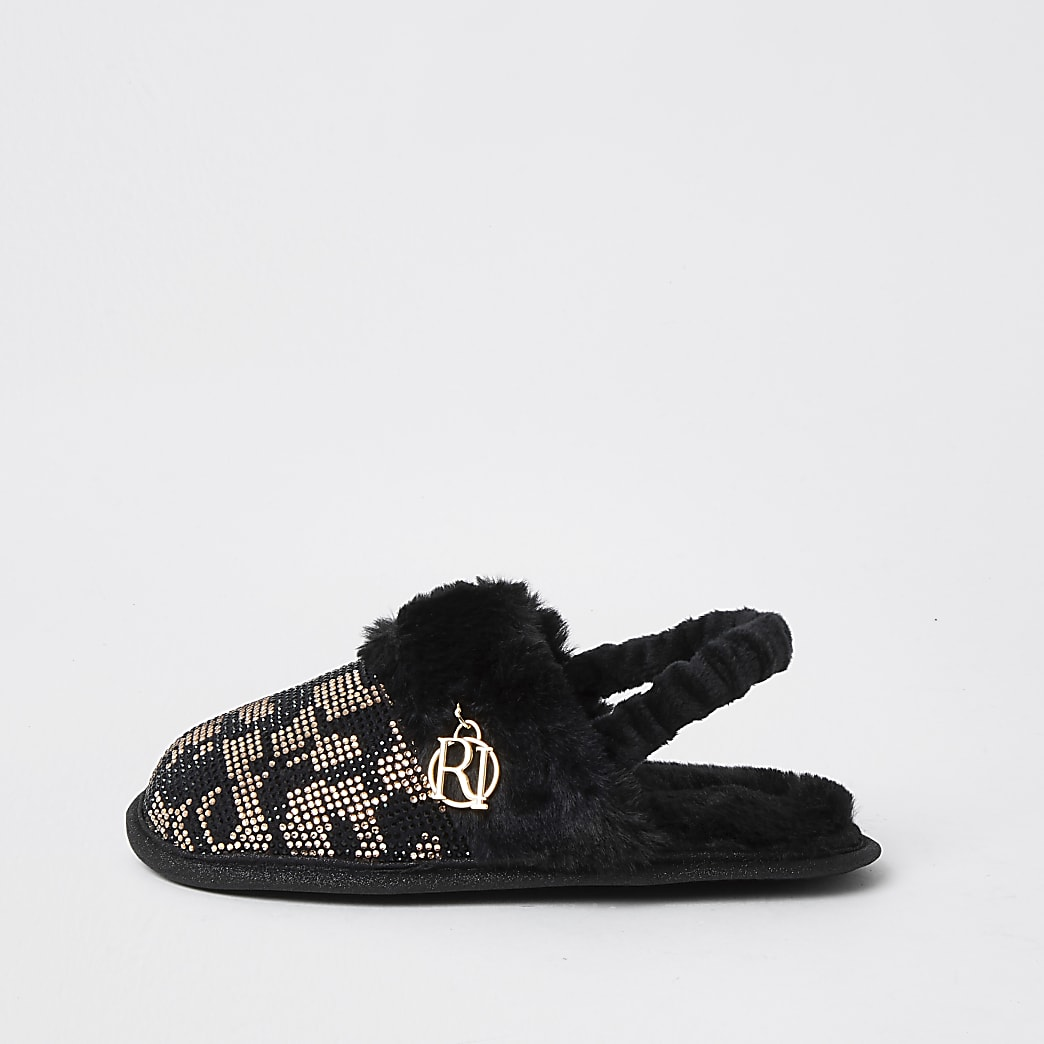 Mini girls brown leopard heat seal slippers