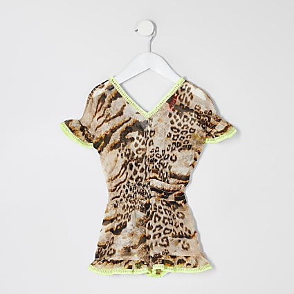 Mini girls brown leopard print beach playsuit