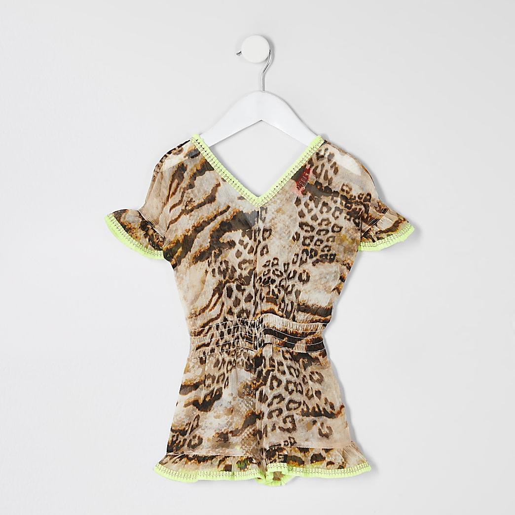 Mini girls brown leopard print beach playsuit
