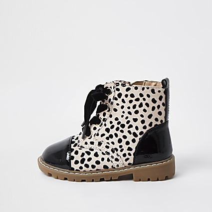 Mini girls brown leopard print clumpy boots