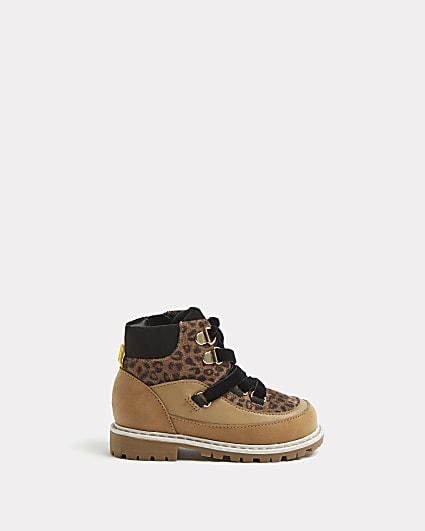 Mini girls brown leopard print hiker boots