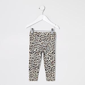 Braune Leggings mit Leopardenprint