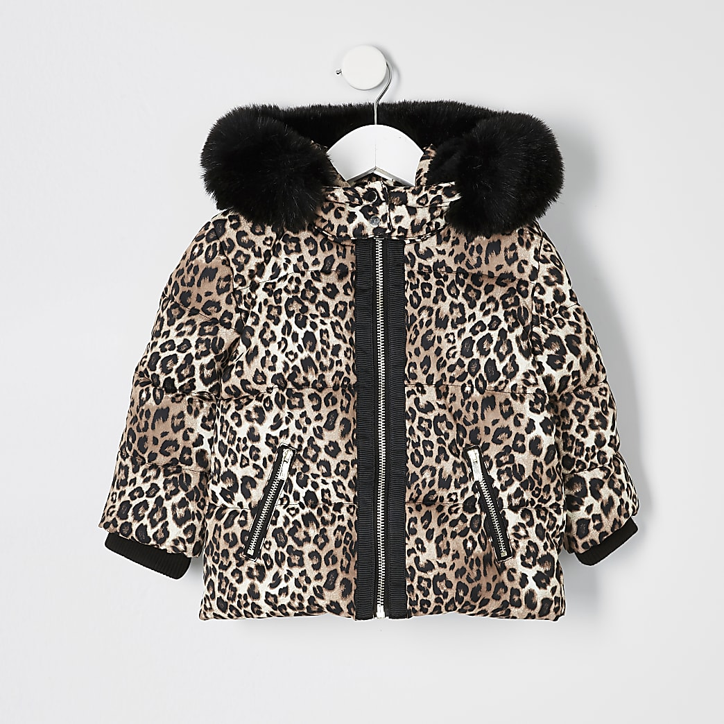 Mini girls brown leopard print padded coat