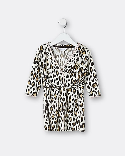 Mini girls brown leopard print robe