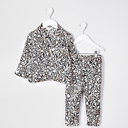 Mini girls brown leopard print satin pyjamas