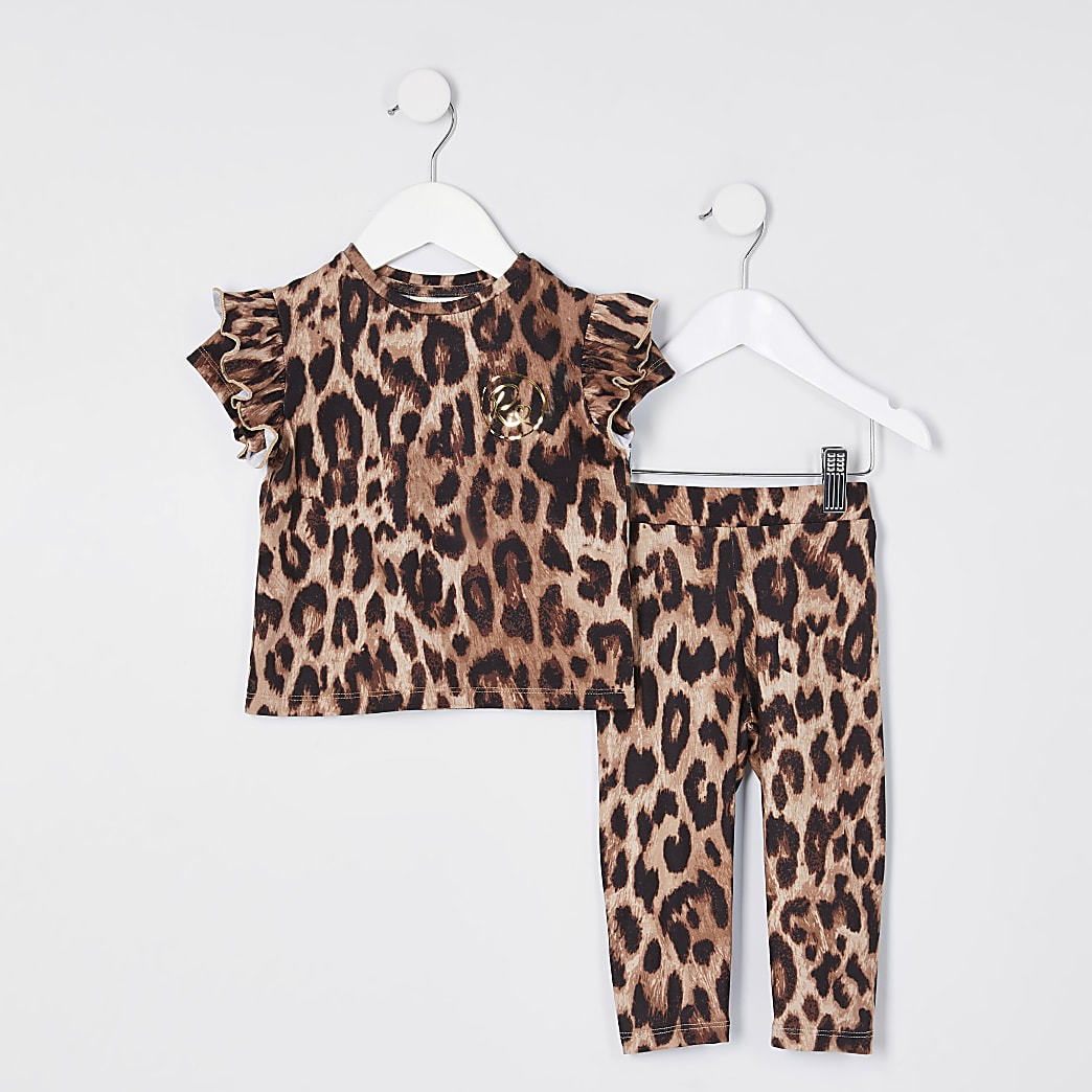 Mini girls brown leopard print top outfit
