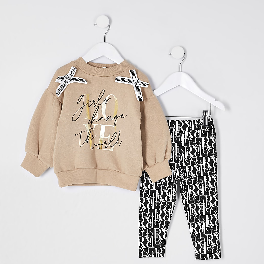 Mini girls brown 'Love' bow outfit