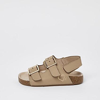 Mini girls brown nubuck 2 strap sandals