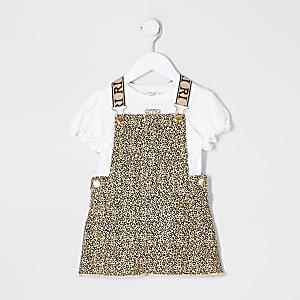 Bruine overgooieroutfit met print voor meisjes