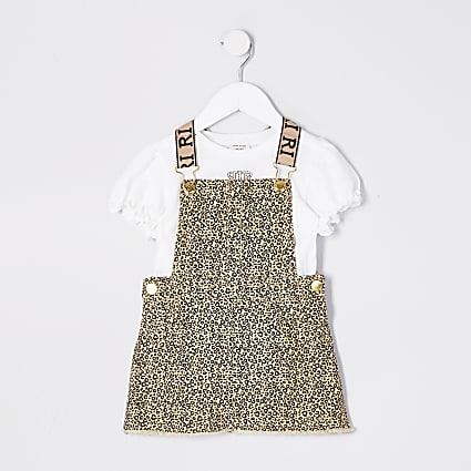 Mini girls brown print pinafore dress outfit