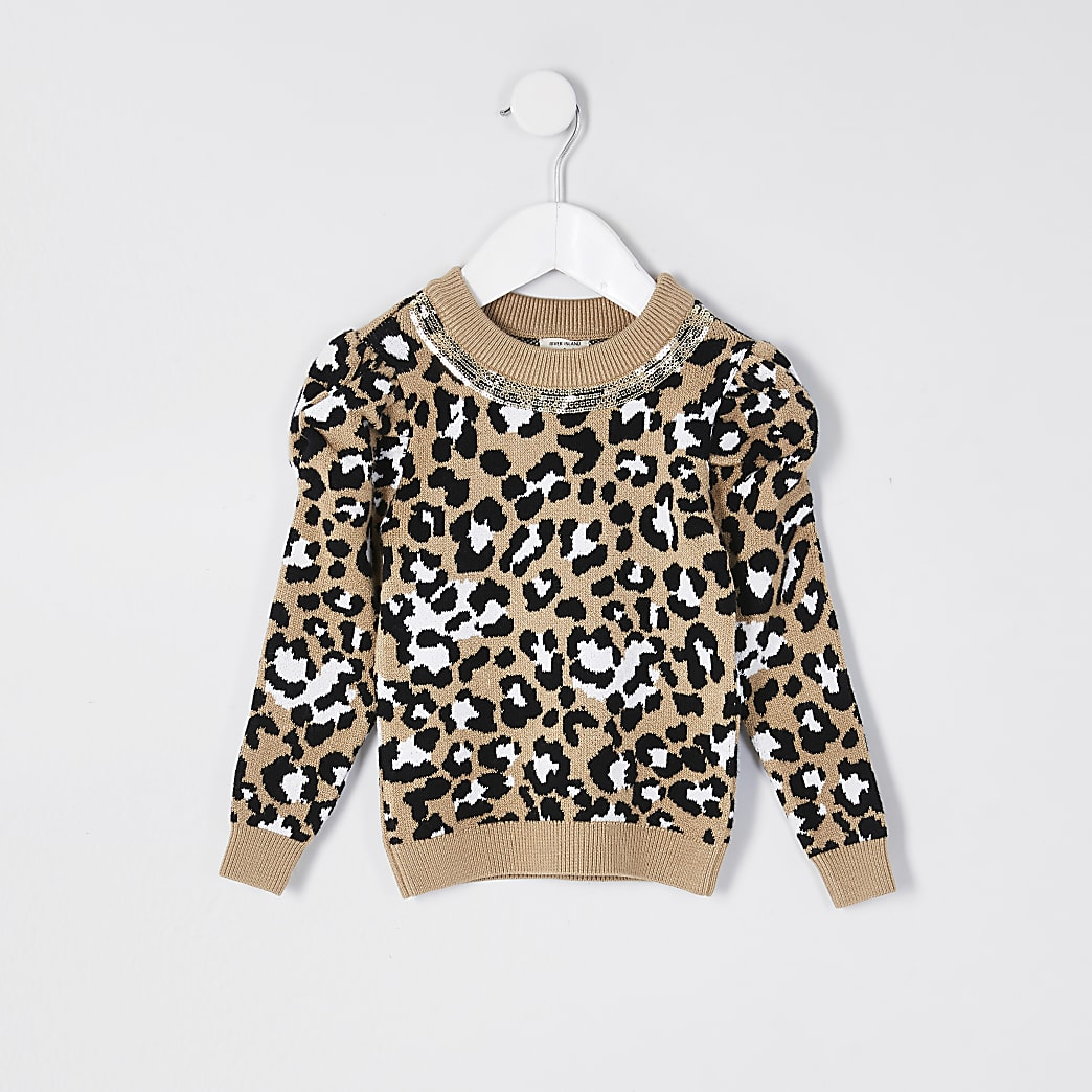 Mini girls brown puff sleeve necklace jumper