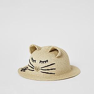 Mini - Bruine kattenmuts met 'Purrrfect'-tekst voor meisjes