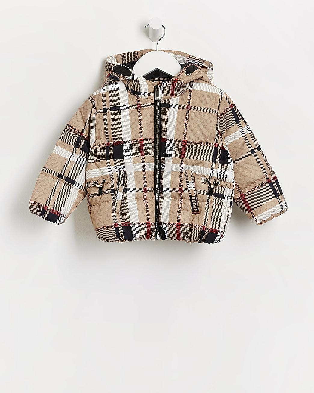 Mini girls brown RI check print puffer coat