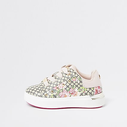 Mini girls brown RI floral monogram plimsole