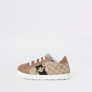 Mini – Braune Sneaker mit RI-Monogramm-Muster und Bienen-Applikation für Mädchen