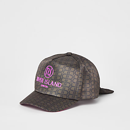 Mini girls brown RI monogram cap