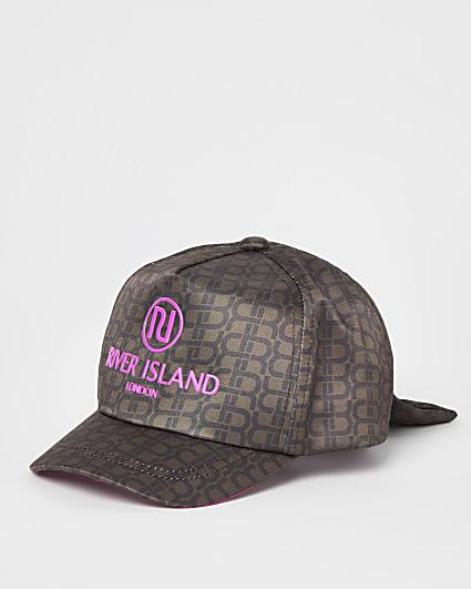 Mini girls brown RI monogram cap