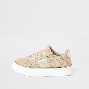 Mini – RI – Perlenverzierte Sneaker in Braun zum Hineinschlüpfen