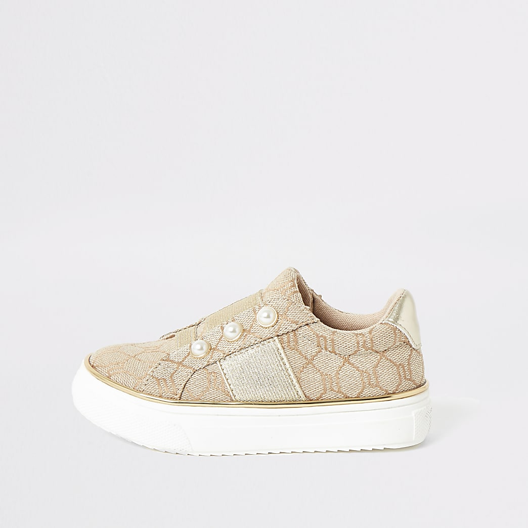 Mini girls brown RI pearl slip on trainers