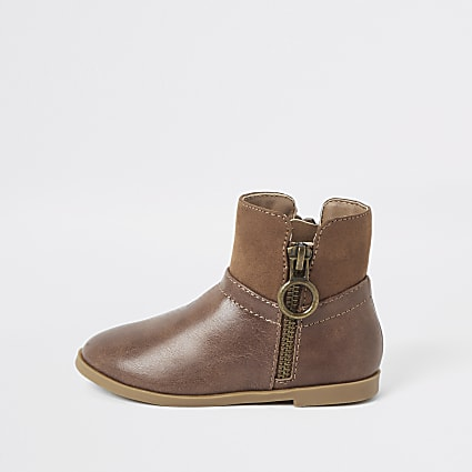 Mini girls brown side zip boots