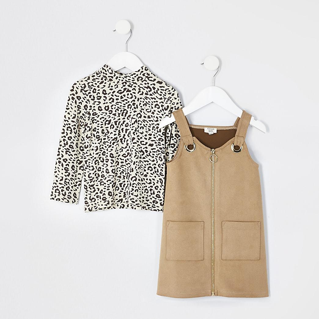 Mini - Bruine outfit met suèdeovergooier jurk voor meisjes