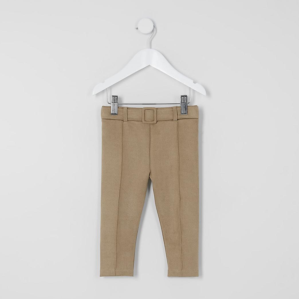 Mini - Bruine suèdine legging met ceintuur voor meisjes