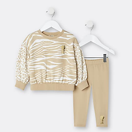 Mini girls brown sweatshirt and leggings set