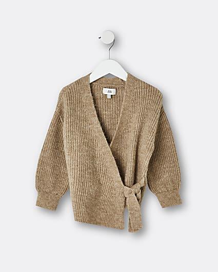 Mini girls brown tie waist knit cardigan