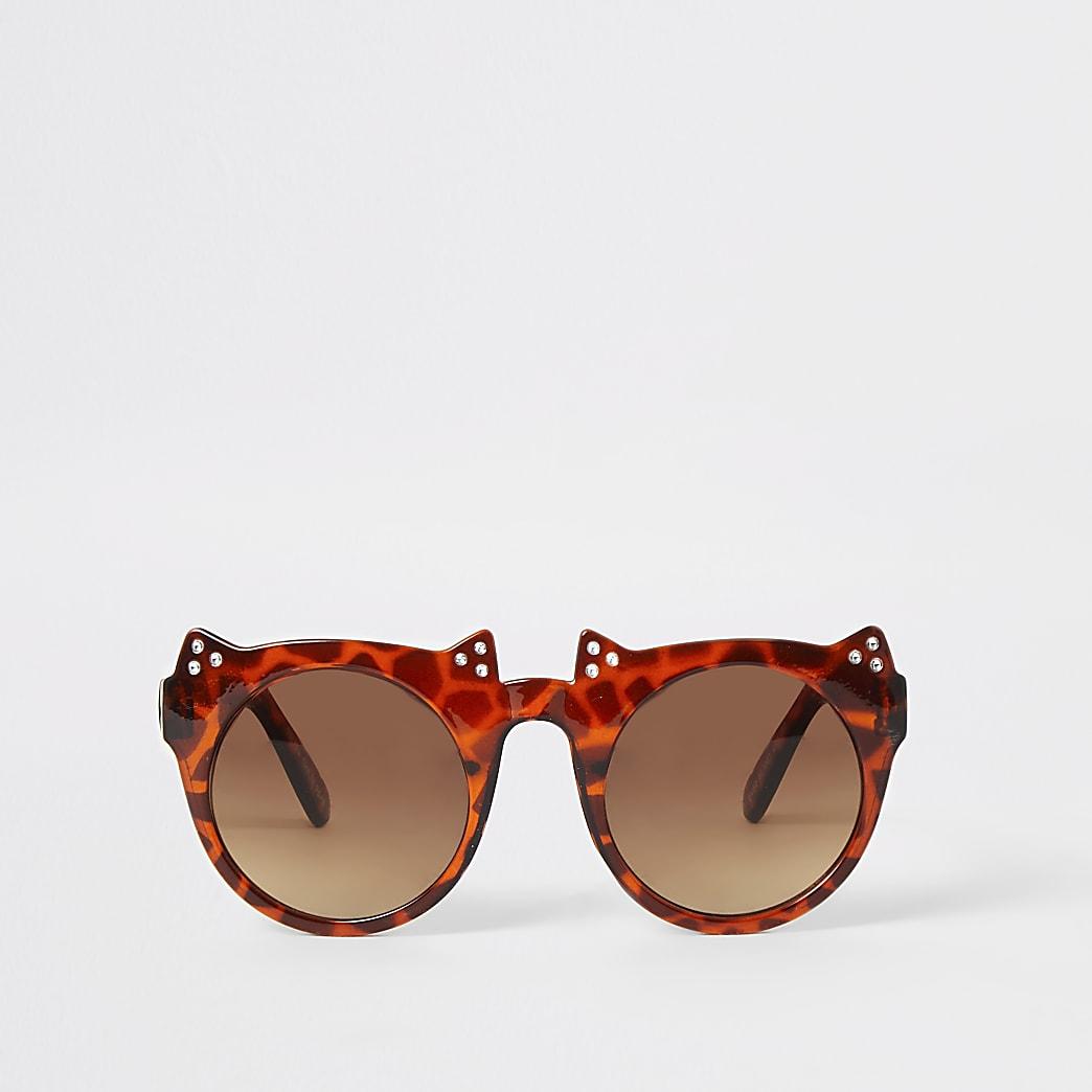 Mini - Bruine zonnebril met kattenoren en schildpadschildmotief voor meisjes
